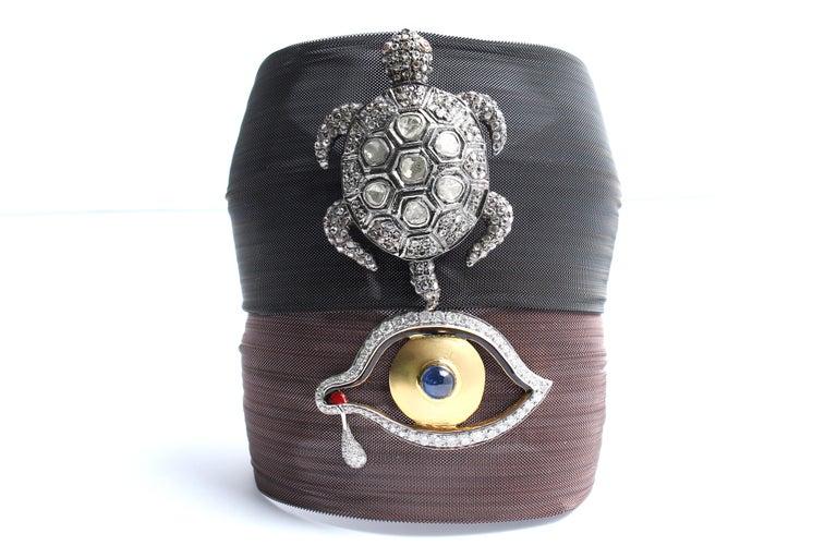 Clarissa Bronfman Bronze Diamond and Sapphire 'Dali Eye Mesh Bracelet'  For Sale 2