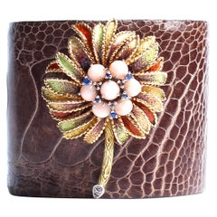 Clarissa Bronfman Brown Crocodile Rose Quartz Sapphire Enamel 14k Gold Bracelet