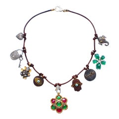 Clarissa Bronfman Brown Leather Charm Necklace
