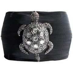 Clarissa Bronfman Charcoal Silver Mesh Rose Cut Diamond and Ruby Turtle Bracelet