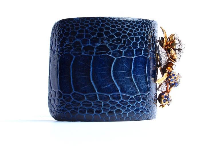 Contemporary Clarissa Bronfman Crocodile Cuff 14k Gold Sapphire Diamond Flower Charm Cuff  For Sale