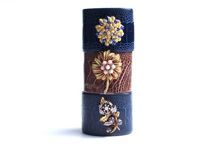 Brilliant Cut Clarissa Bronfman Crocodile Cuff 14k Gold Sapphire Diamond Flower Charm Cuff  For Sale
