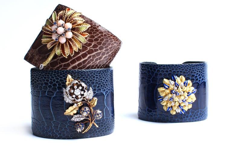 Women's or Men's Clarissa Bronfman Crocodile Cuff 14k Gold Sapphire Diamond Flower Charm Cuff  For Sale