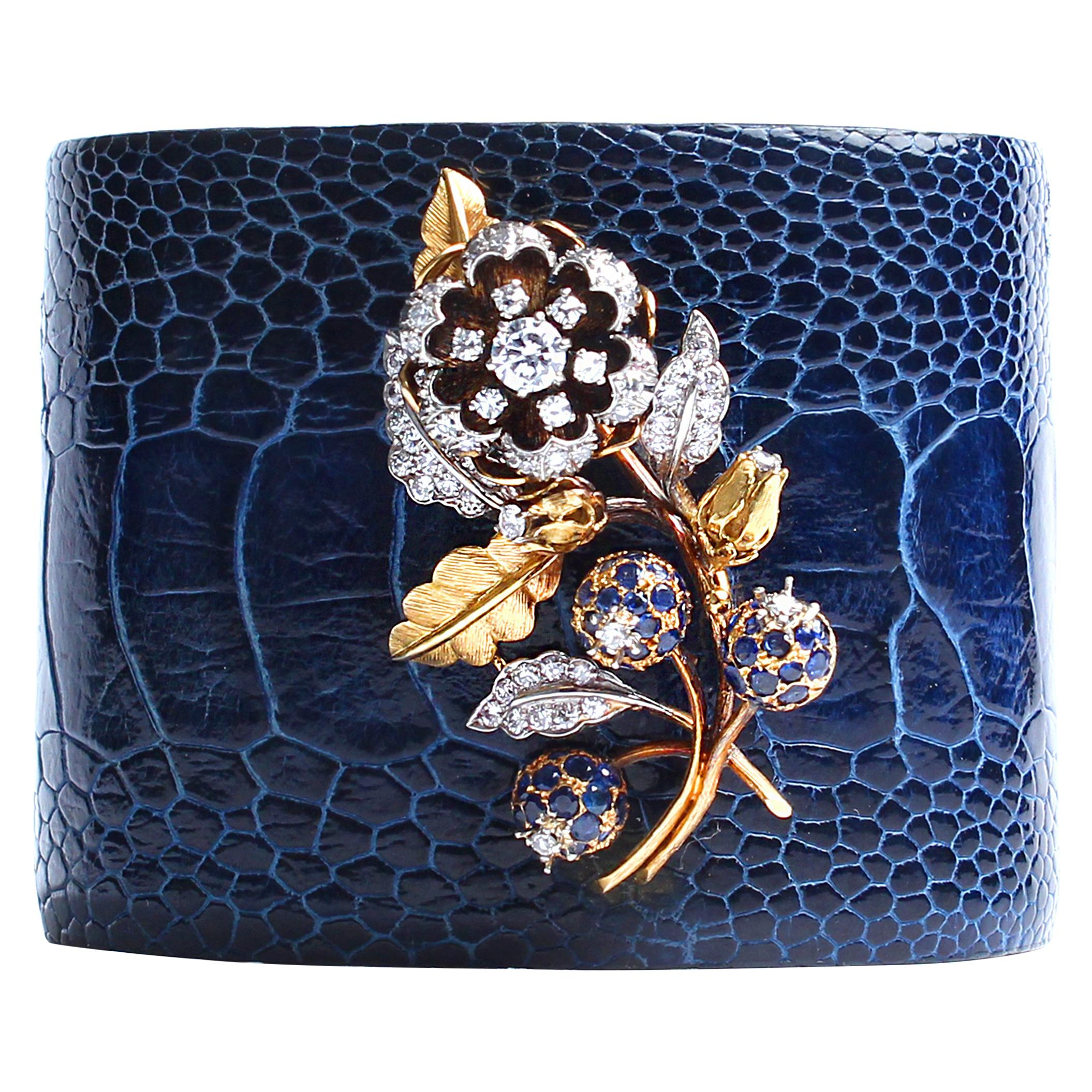 Clarissa Bronfman Crocodile Cuff 14k Gold Sapphire Diamond Flower Charm Cuff