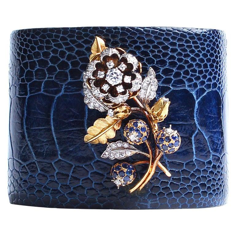 Clarissa Bronfman Crocodile Cuff 14k Gold Sapphire Diamond Flower Charm Cuff  For Sale