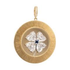 CLARISSA BRONFMAN Custom Design Gold 4 Leaf Clover Disc Pendant
