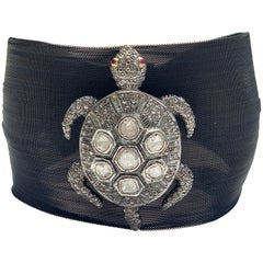Clarissa Bronfman Dark Silver Mesh Rose Cut Diamond and Ruby Turtle Bracelet