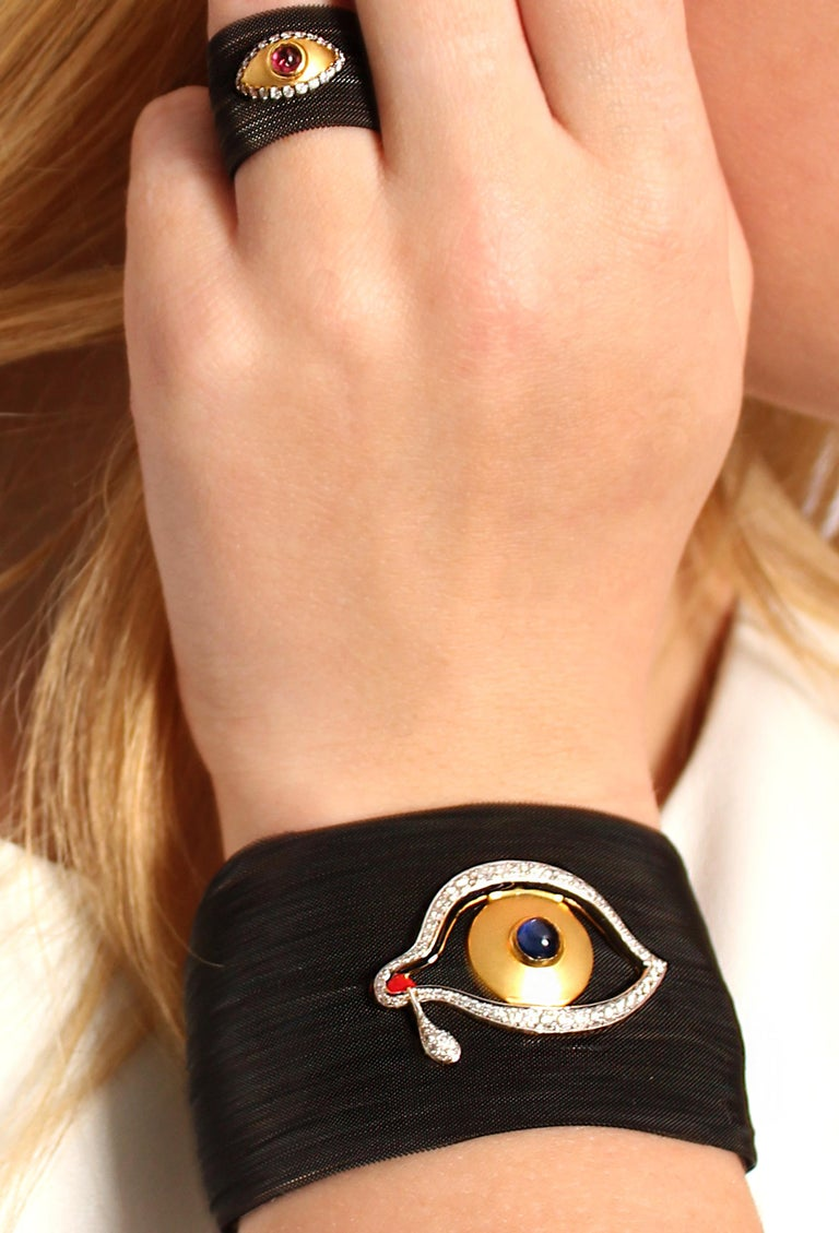 Clarissa Bronfman Diamond and Sapphire Black 'Dali Eye Mesh' Bracelet  In New Condition In New York, NY