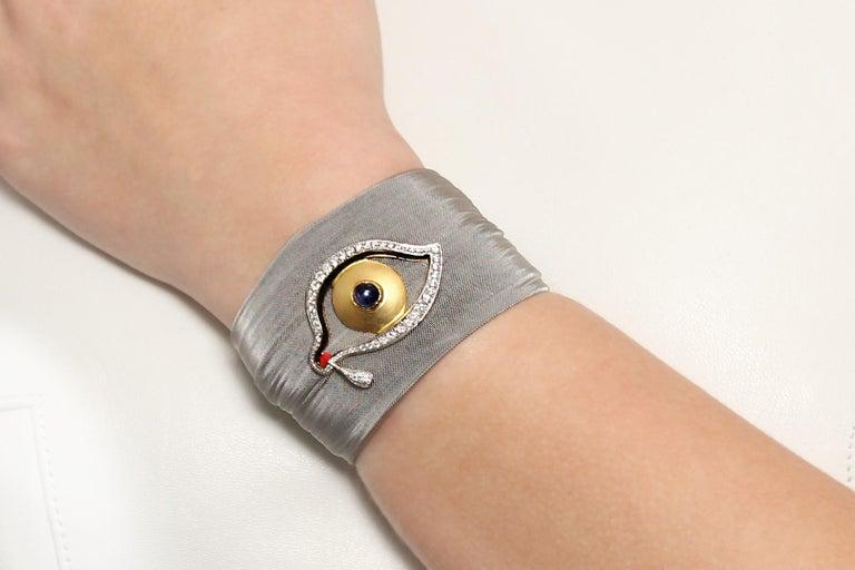 Women's Clarissa Bronfman Diamond and Sapphire Black 'Dali Eye Mesh' Bracelet