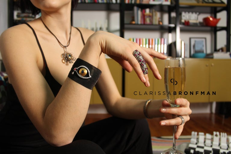 Clarissa Bronfman Diamond and Sapphire Black 'Dali Eye Mesh' Bracelet  1