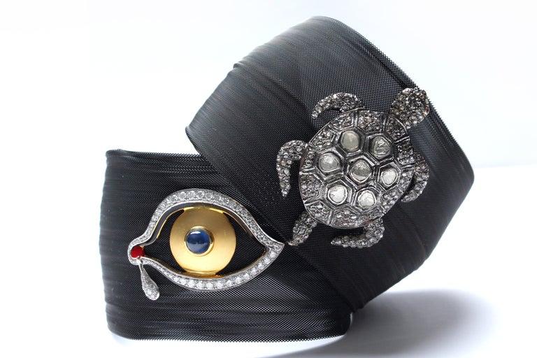 Clarissa Bronfman Diamond and Sapphire Black 'Dali Eye Mesh' Bracelet  3
