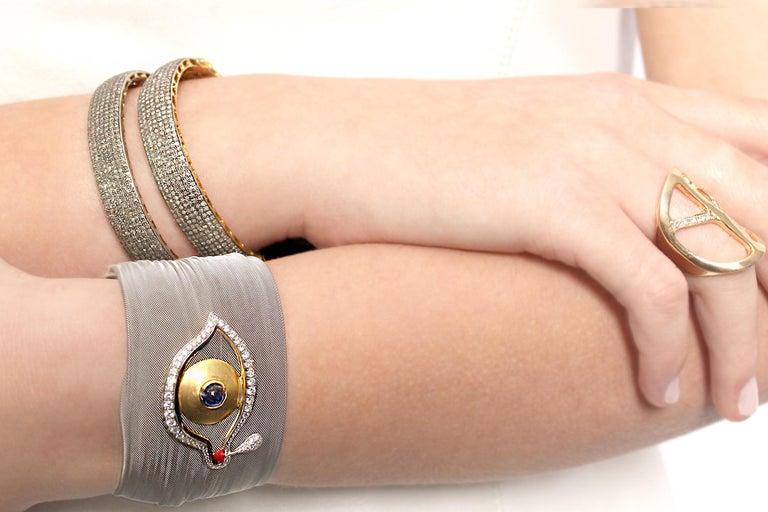 Rose Cut Clarissa Bronfman Diamond Bracelet For Sale