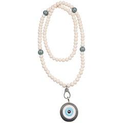 Clarissa Bronfman Ebony, Diamond, 14 Karat Gold, Turquoise 'Evil Eye' Necklace