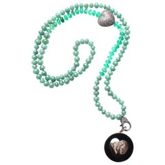 Clarissa Bronfman Ebony, Diamond, 14k gold, Green Onyx, Jade 'Love' Necklace