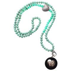 Clarissa Bronfman Ebony, Diamond, 14k gold, Green Onyx, Jade 'Love' Necklace