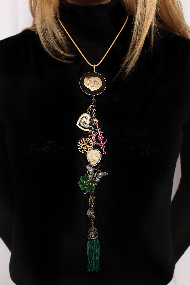 Contemporary Clarissa Bronfman Ebony, Diamond, Lapis, Ruby 'Hamptons Classic' Symbol Tree  For Sale