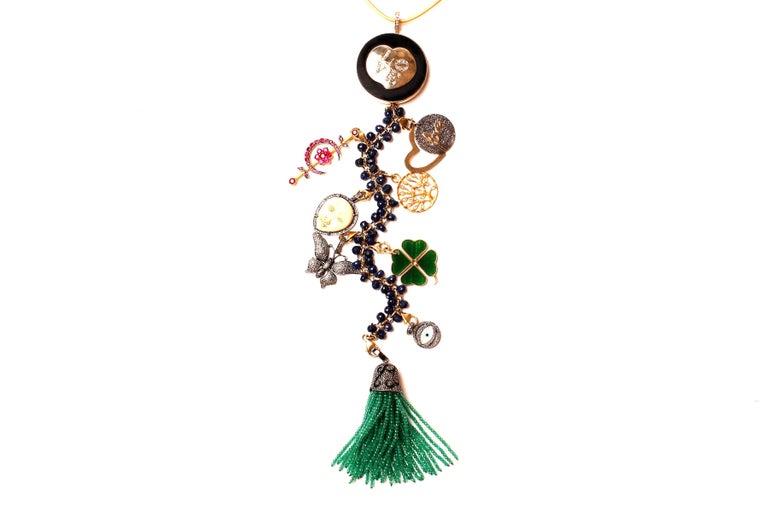 Clarissa Bronfman Ebony, Diamond, Lapis, Ruby 'Hamptons Classic' Symbol Tree  In New Condition For Sale In New York, NY