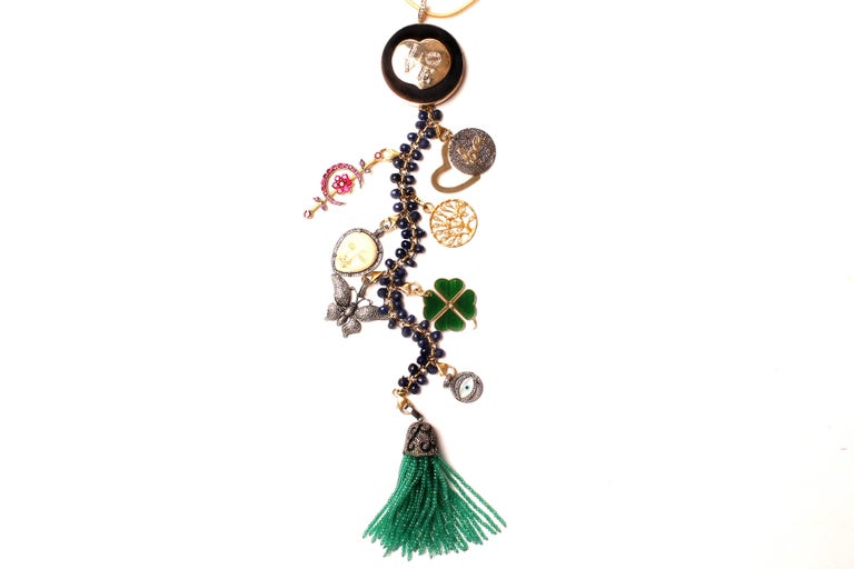 Women's or Men's Clarissa Bronfman Ebony, Diamond, Lapis, Ruby 'Hamptons Classic' Symbol Tree  For Sale