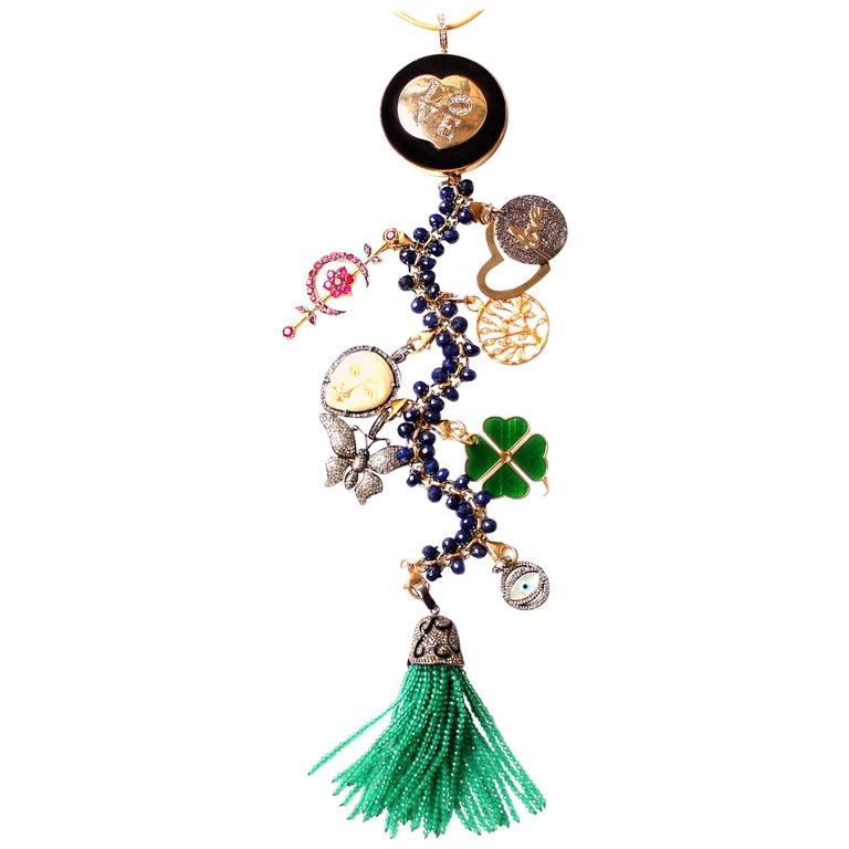 Clarissa Bronfman Ebony, Diamond, Lapis, Ruby 'Hamptons Classic' Symbol Tree  For Sale