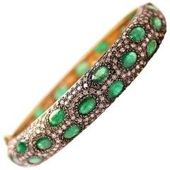 Clarissa Bronfman Emerald and Diamond Bracelet on Silver