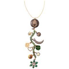 Clarissa Bronfman Emerald, Diamond, Bone, 'Tempest' Symbol Tree Necklace