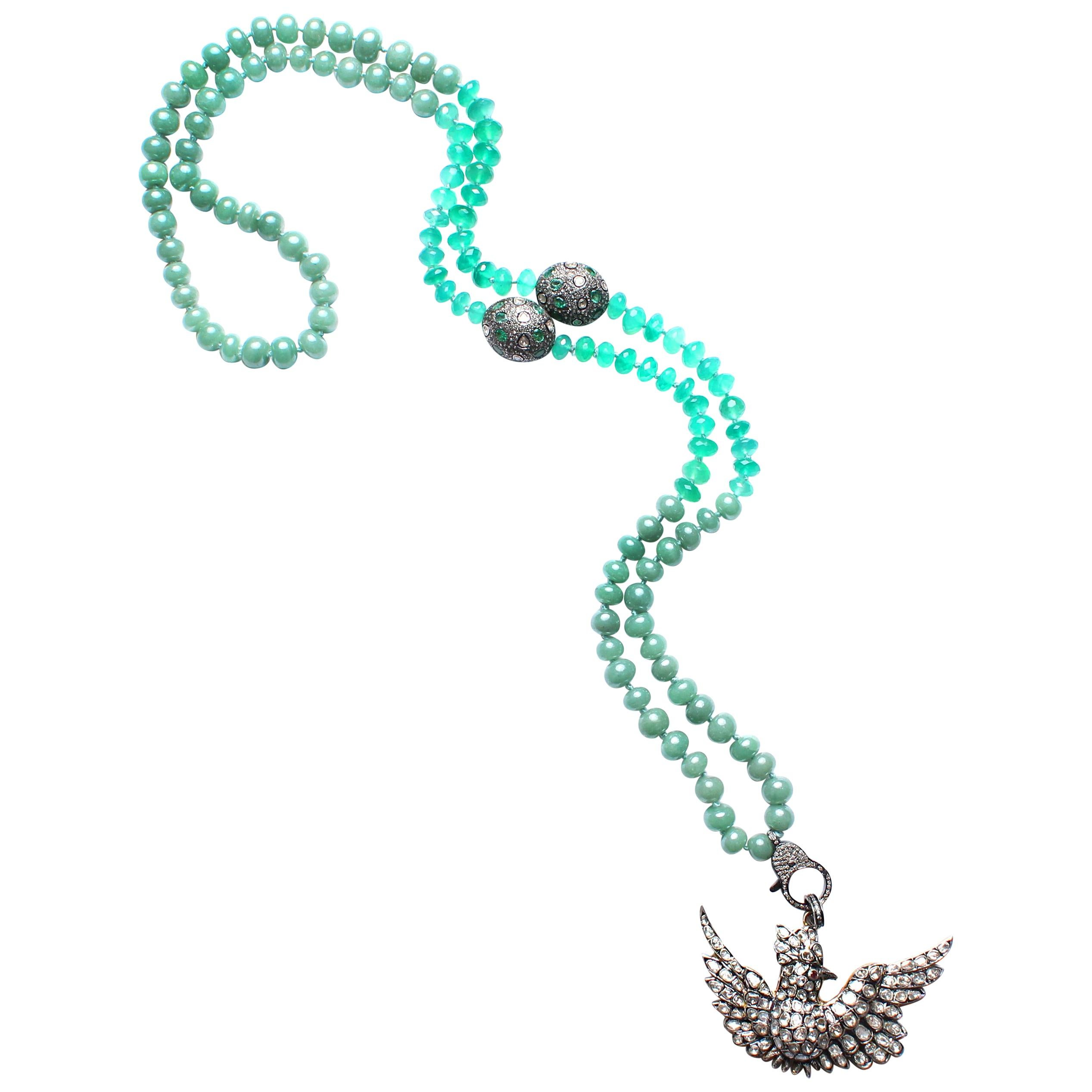 Clarissa Bronfman Emerald, Jade, Diamond, Ruby Cardinal Bird Beaded Necklace