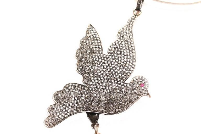 Contemporary Clarissa Bronfman Emerald, Jade, Diamond 'Secret Story' Symbol Tree Necklace For Sale
