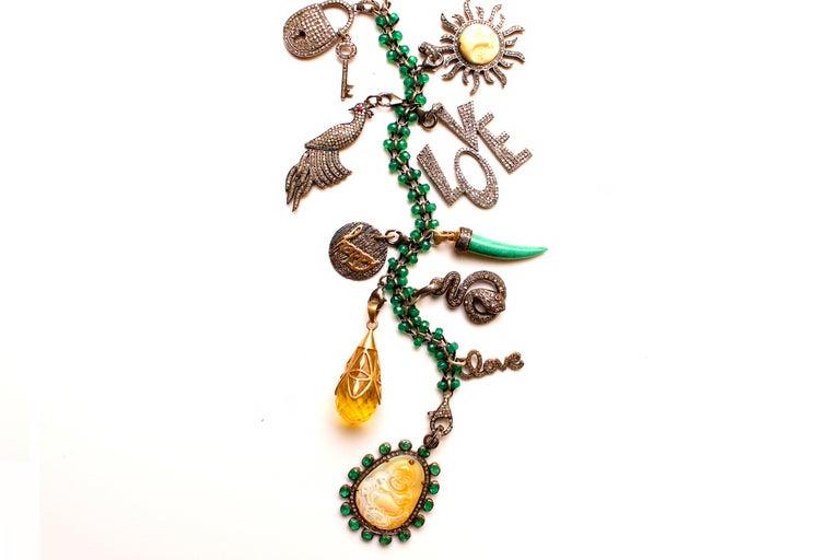 Women's or Men's Clarissa Bronfman Emerald, Jade, Diamond 'Secret Story' Symbol Tree Necklace For Sale