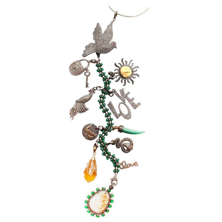 Clarissa Bronfman Emerald, Jade, Diamond 'Secret Story' Symbol Tree Necklace For Sale