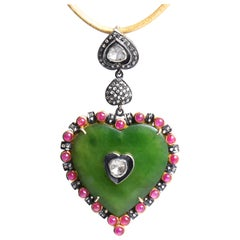Clarissa Bronfman Emerald, Ruby, Rose Cut Diamond, 14 Karat Gold Heart Pendant