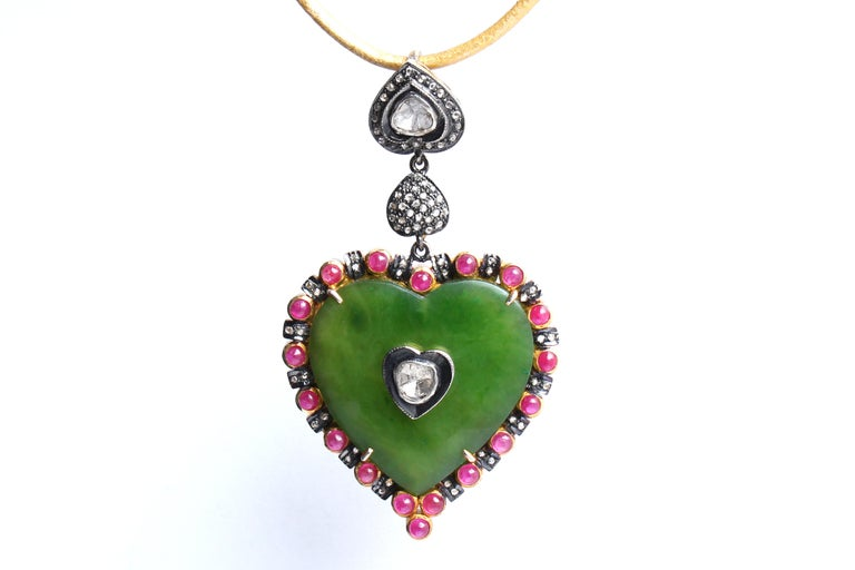 Contemporary Clarissa Bronfman Emerald, Ruby, Rose Cut Diamond, 14 Karat Gold Heart Pendant