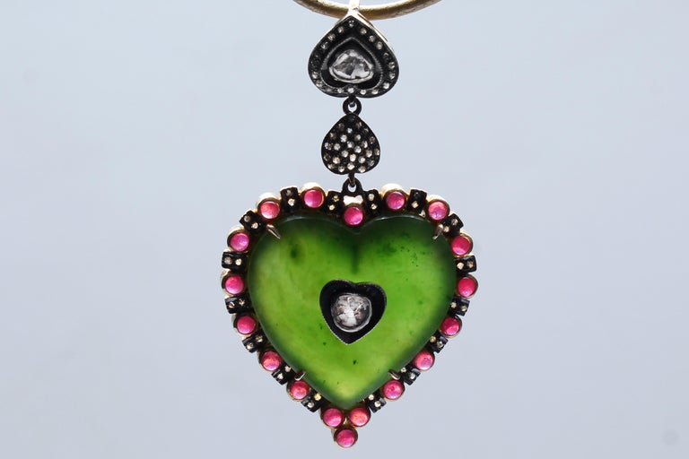 Clarissa Bronfman Emerald, Ruby, Rose Cut Diamond, 14 Karat Gold Heart Pendant In New Condition In New York, NY
