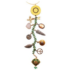 Clarissa Bronfman Emerald,Diamond,Enamel,Ruby 'Nefertiti' Symbol Tree Necklace