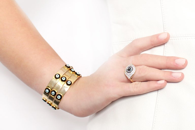 Clarissa Bronfman Enamel 'Dino Evil Eye' Gold Bangle  In New Condition For Sale In New York, NY
