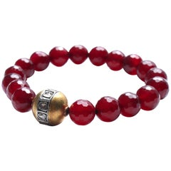 Clarissa Bronfman Garnet, Gold, Rose Cut Diamond Beaded Bracelet