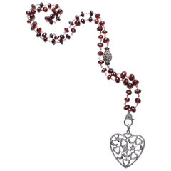 Clarissa Bronfman Garnet, Rose Cut Diamond Heart Pendant Beaded Rosary Necklace