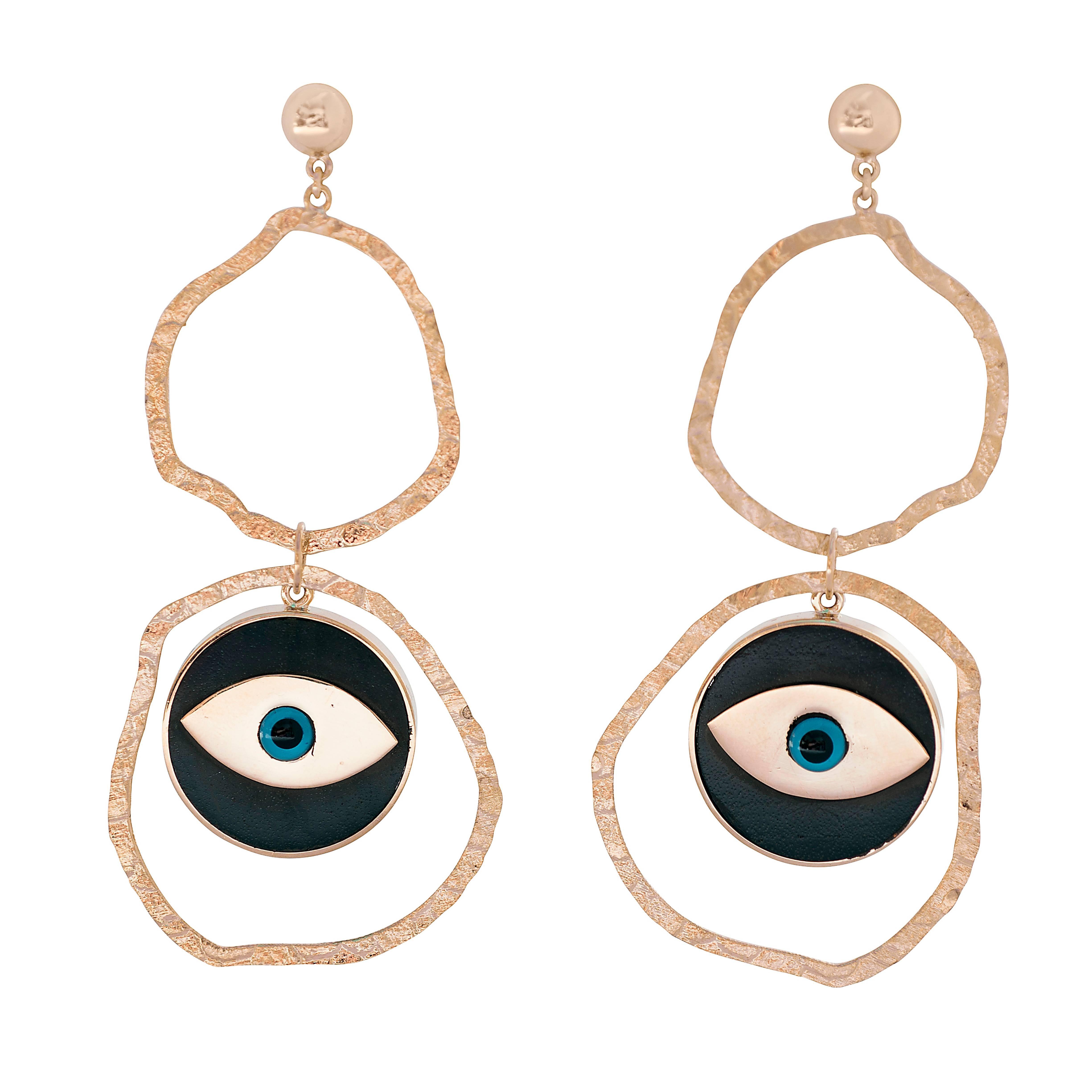 Clarissa Bronfman Gold and Ebony Double Hoop Earrings