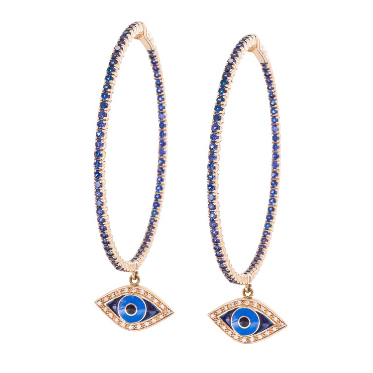 14K Gold with Diamonds, Sapphires and Hanging Enamel Evil Eye  Hoop Dia: 2.25 inches
