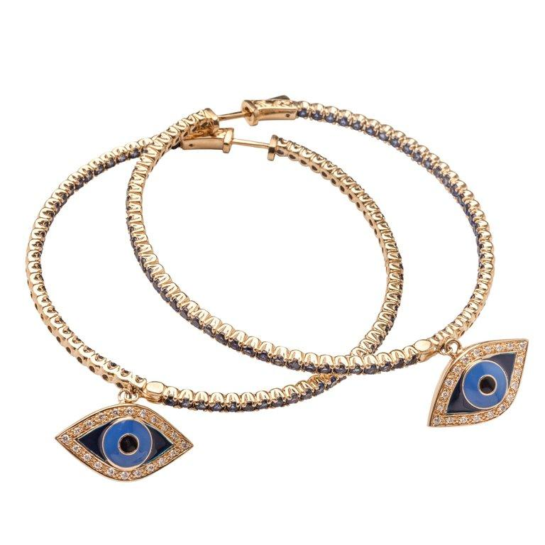 Contemporary Clarissa Bronfman Gold, Sapphire and Diamond Hoop Earrings  For Sale