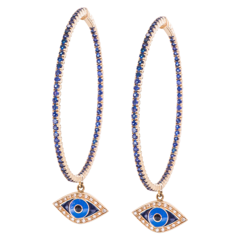 Clarissa Bronfman Signature 14kGold Sapphire Enamel Diamond Hoop Earrings