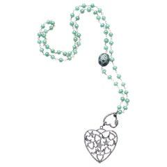 Clarissa Bronfman Green Agate, Diamond, Emerald Heart Pendant Rosary