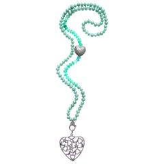Clarissa Bronfman Green Agate, Jade, Diamond Heart Pendant Beaded Necklace