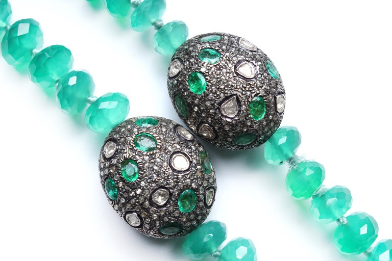 Contemporary Clarissa Bronfman Green Onyx Beaded Necklace with Diamond, Emerald, Enamel For Sale
