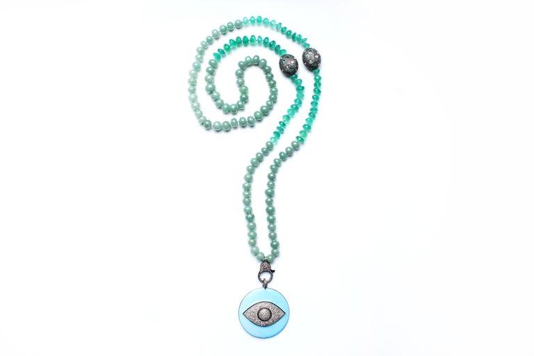Emerald Cut Clarissa Bronfman Green Onyx Beaded Necklace with Diamond, Emerald, Enamel For Sale