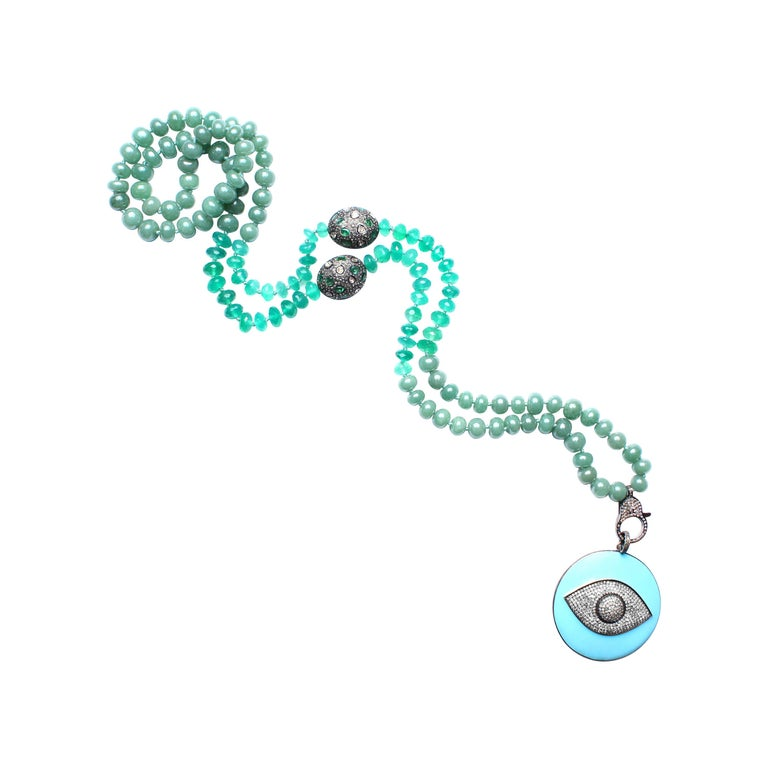 Clarissa Bronfman Green Onyx Beaded Necklace with Diamond, Emerald, Enamel For Sale