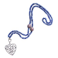 Clarissa Bronfman Lapis Beaded Ruby Diamond and Silver Heart Pendant Necklace
