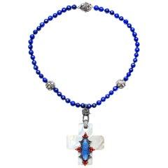 Clarissa Bronfman Lapis Beads, Rose Cut Diamonds, Mother of Pearl Necklace
