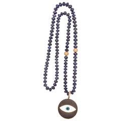 Clarissa Bronfman Lapis diamond 14k gold ebony enamel Beaded Pendant Necklace