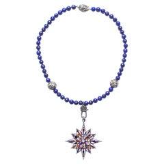 Clarissa Bronfman Lapis Diamond, Sapphire, Peridot, Citrine Starburst Neclace