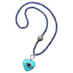Clarissa Bronfman Lapis, Diamond, Sapphire, Turquoise Heart Pendant Necklace